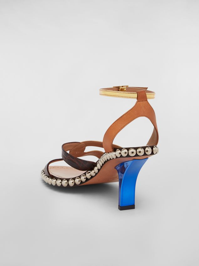 Marni Studded criss-cross sandal in leather Woman - 3