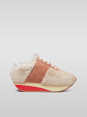 Marni Marni BIGFOOT sneaker in shearling pink Woman