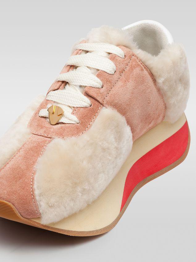 Marni Marni BIG FOOT sneaker in pink sheepskin Woman - 5