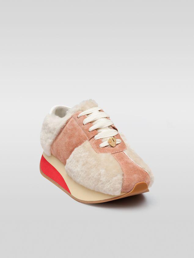 Marni Marni BIG FOOT sneaker in pink sheepskin Woman - 2