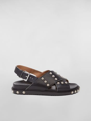 Marni Criss-cross fussbett in black studded calfskin Woman