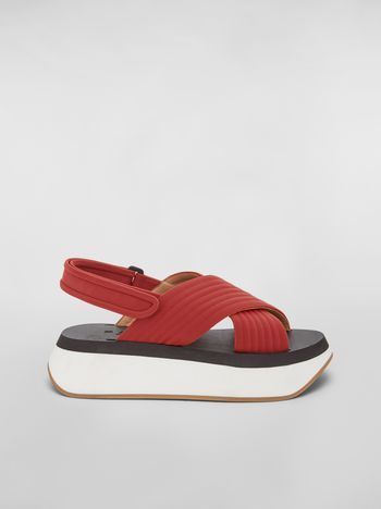8a260fcbbf2a Red wedge sandals in techno fabric
