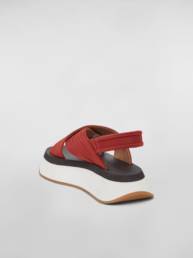 Marni Red wedge sandals in techno fabric Woman