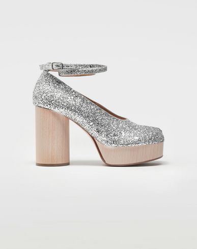 Tabi glitter leather strap sandals