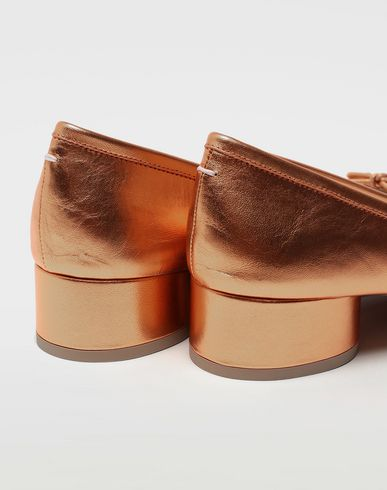 SHOES Tabi laminated leather ballerina pumps Copper