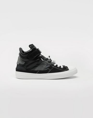 Spliced high top sneakers