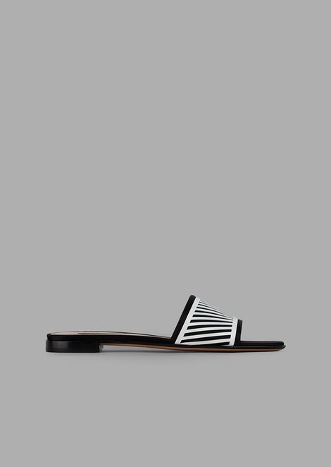 Ultra-flat patent leather sandals with chevron design satin band