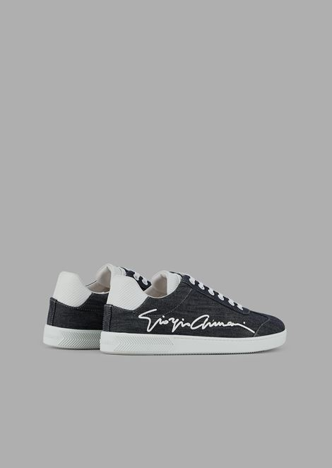 Denim sneakers with the Giorgio Armani signature