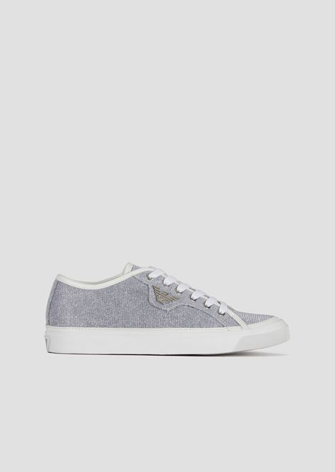Shimmering animalier print sneakers with Emporio Armani logo