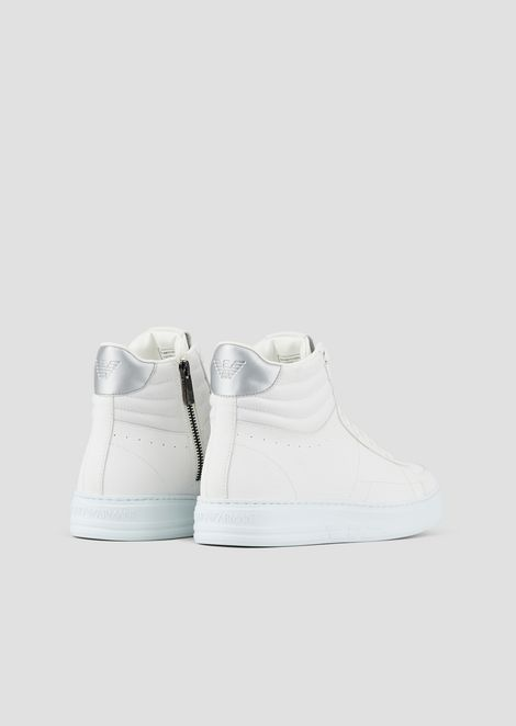 High-top sneakers in leather and tech fabric with laminate inserts