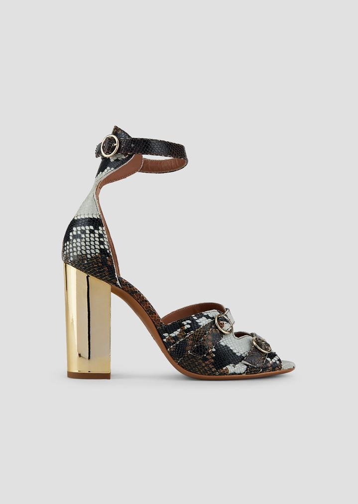 0b9c0379b Sandals in baby batik viper leather with metal heel