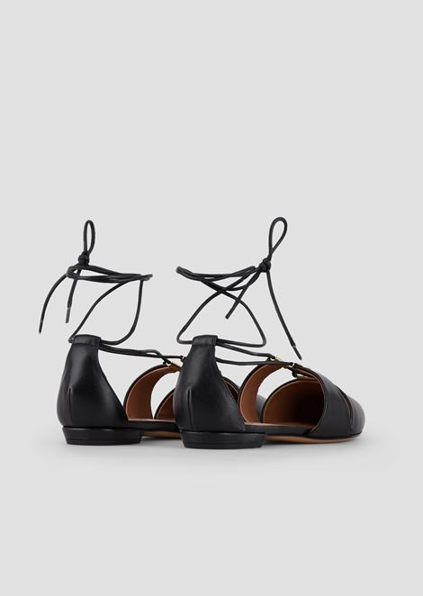 Cherie nappa leather ballerinas with laced ankles and metal details