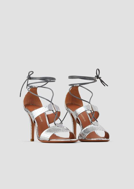 Sandals with heel in metallic leather with python print