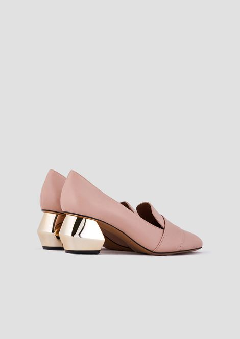 Nappa leather court shoes with chrome-plated hexagonal heel