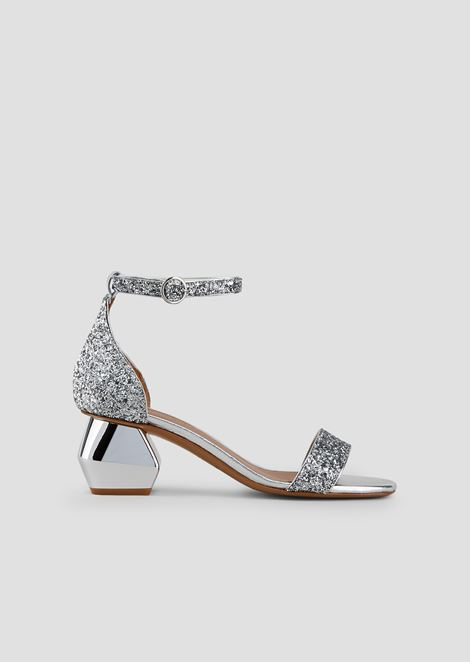 Sandals in glittered nappa leather with ankle strap and chrome-plated hexagonal heel