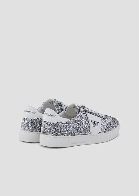Glitter sneakers with side logo
