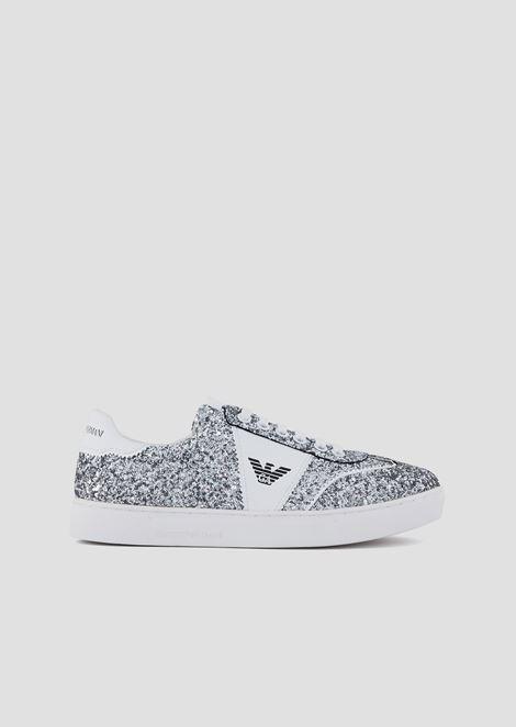 Sneakers glitterate con logo laterale
