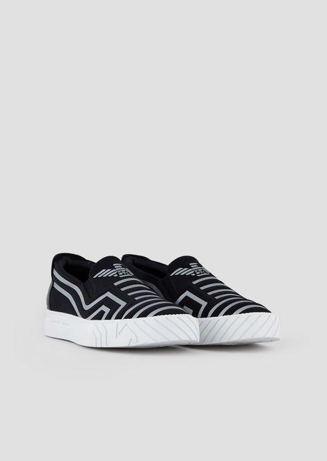 Zapatos sin cordones de piel con motivo de logotipo