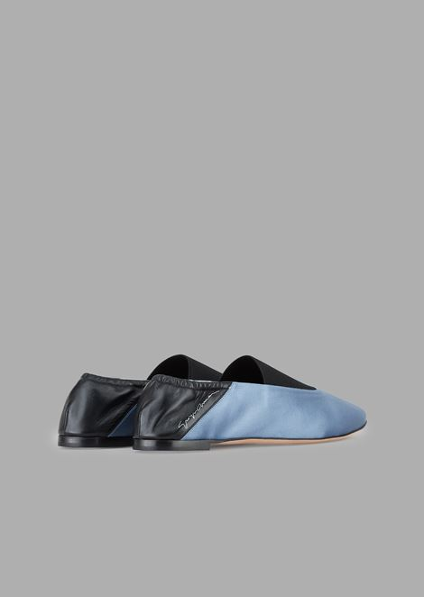 Satin ballet flats with nappa leather heel and stretch insert