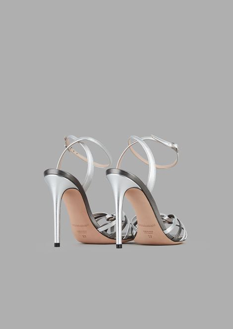 Sandali con tacco in nappa metallizzata