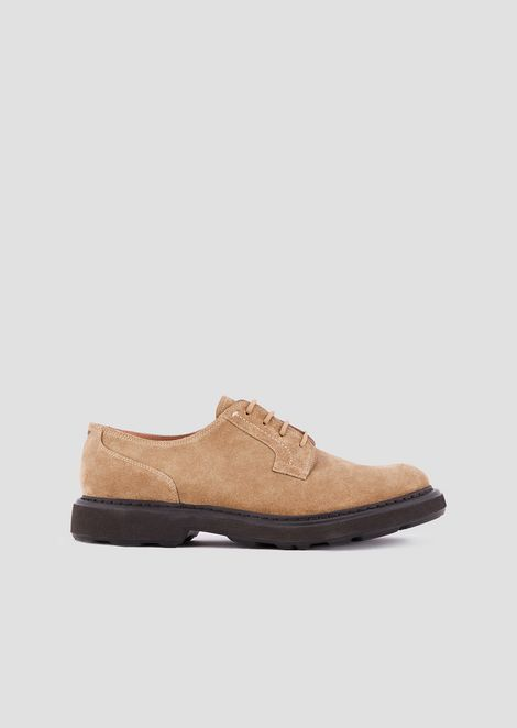 Derby shoes in suede-effect leather