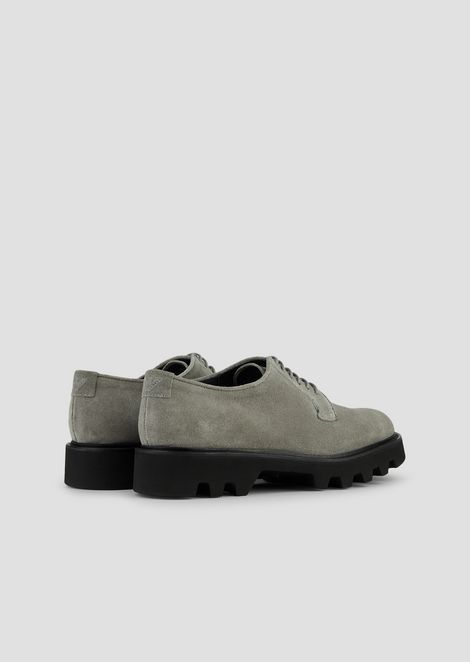 Derby shoes in suede with deep tread sole