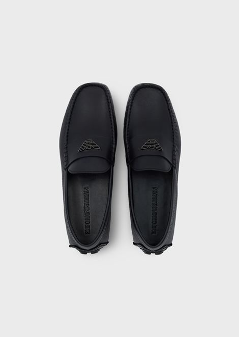 Driver moccasins in leather with logo
