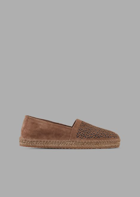 Espadrilles in suede with perforated motif