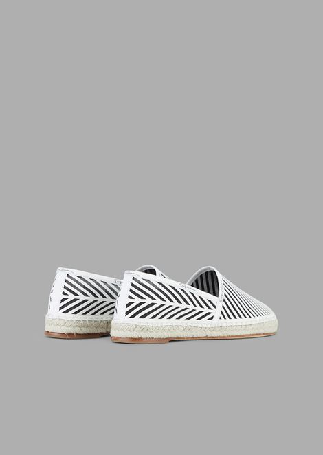 Nappa leather espadrilles with chevron design and mesh backing