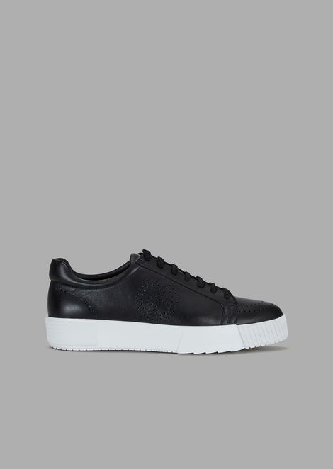 Sneakers in leather with perforated logo
