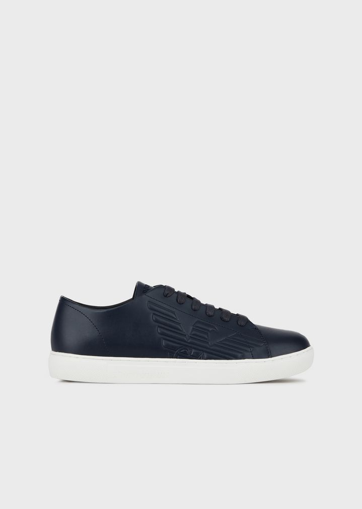 64c9b4ab0c707 Leather sneakers with embossed logo | Man | Emporio Armani