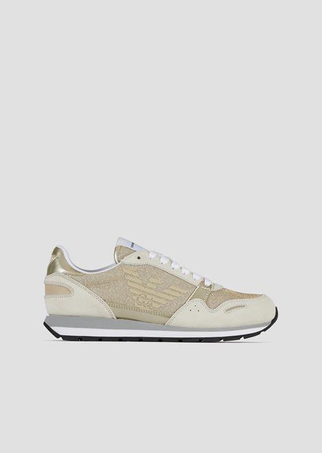 Sneakers in mesh glitterato con inserti in suede e vinile 77ce931aef5