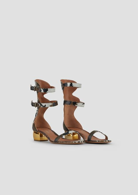 Sandals in baby batik viper leather with chrome heel