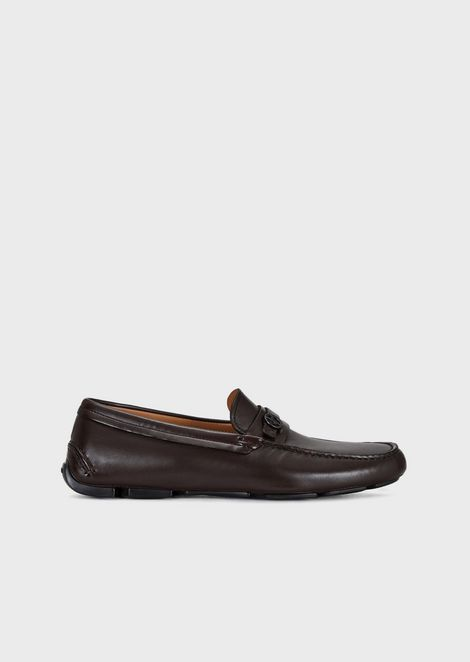 Driver moccasins in nappa leather with logo detail