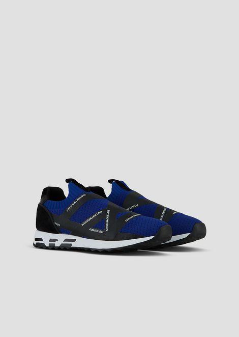 Tech fabric sneakers with Emporio Armani tape logo