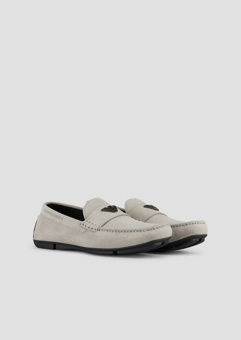 Driver moccasins in suede with logo