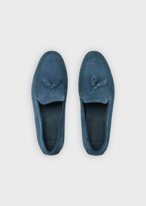 Suede moccasins with nappa leather