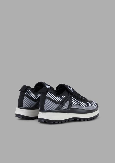 Scuba fabric and jersey sneakers with chevron and optical patterns and leather details