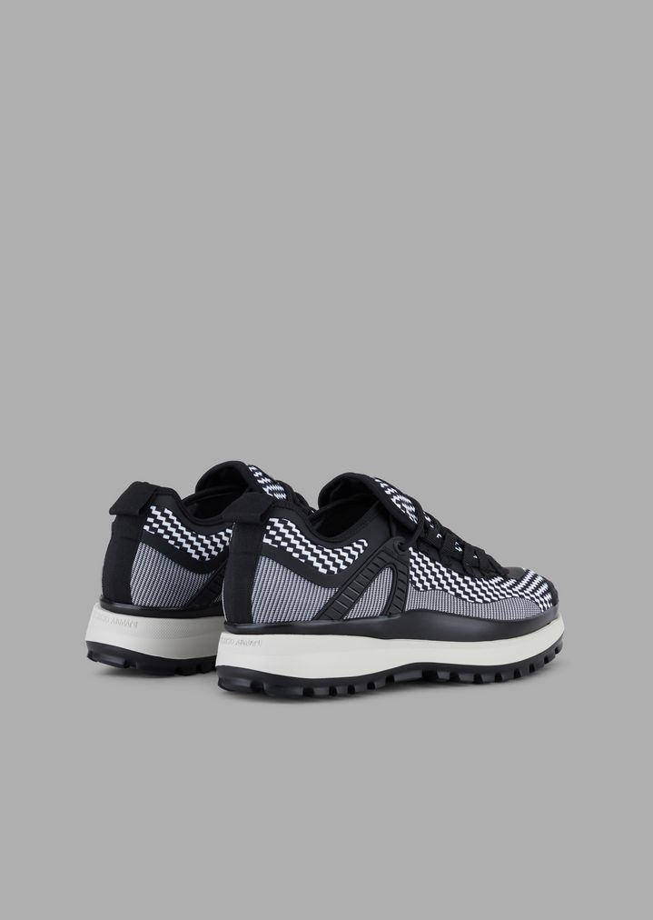 481eb58d77 Scuba fabric and jersey sneakers with chevron and optical patterns and  leather details