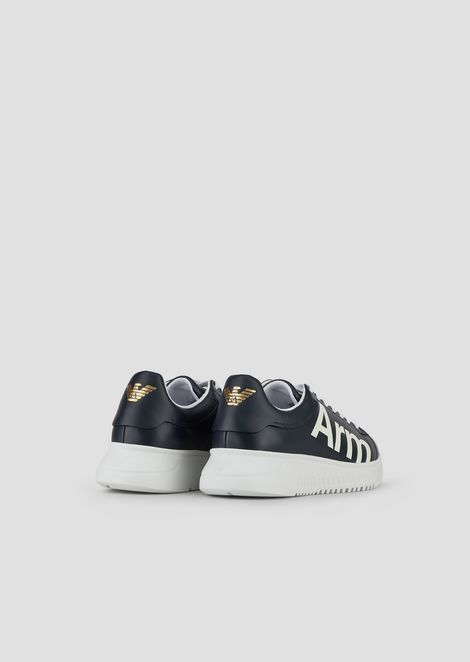 Sneakers in printed leather with reinterpretation of the logo