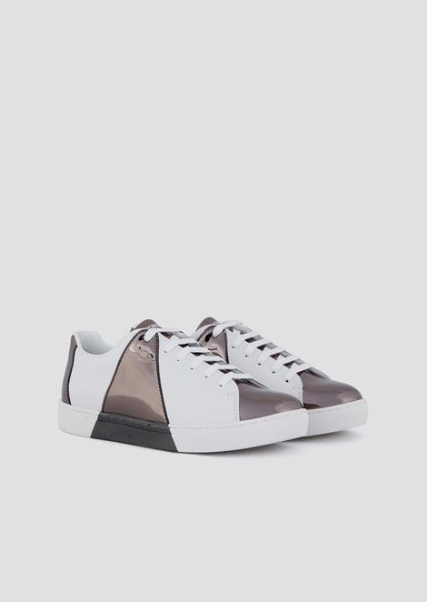 Leather sneakers with mirrored detail print
