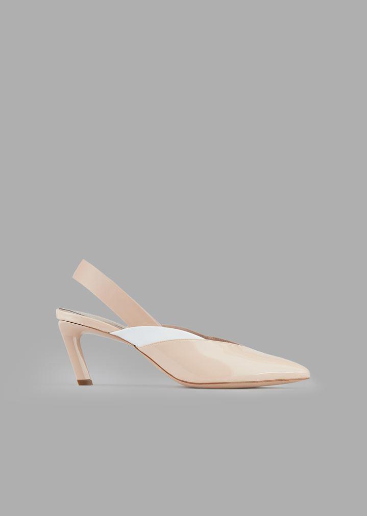 09ad908566 Slingbacks in patent and nappa leather with sloping teardrop heel | Woman |  Giorgio Armani