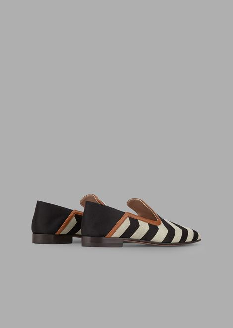 Chevron satin loafers with nappa leather detail and fold-down back