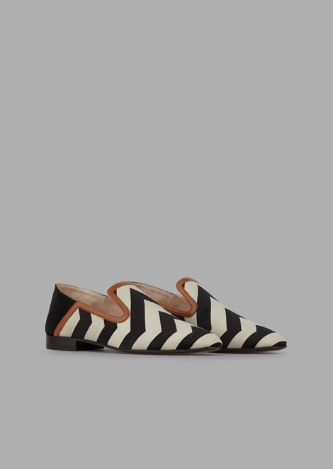 Chevron satin moccasins with nappa leather detail and fold-down back