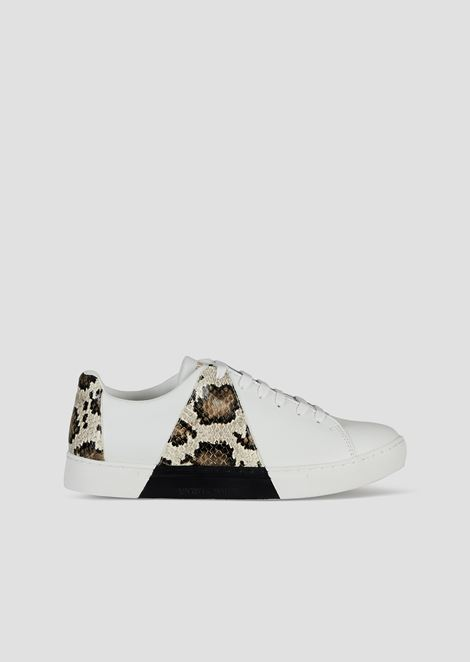 Leather sneakers with python-effect leather