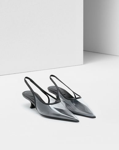 SHOES Piped PVC slingback pumps