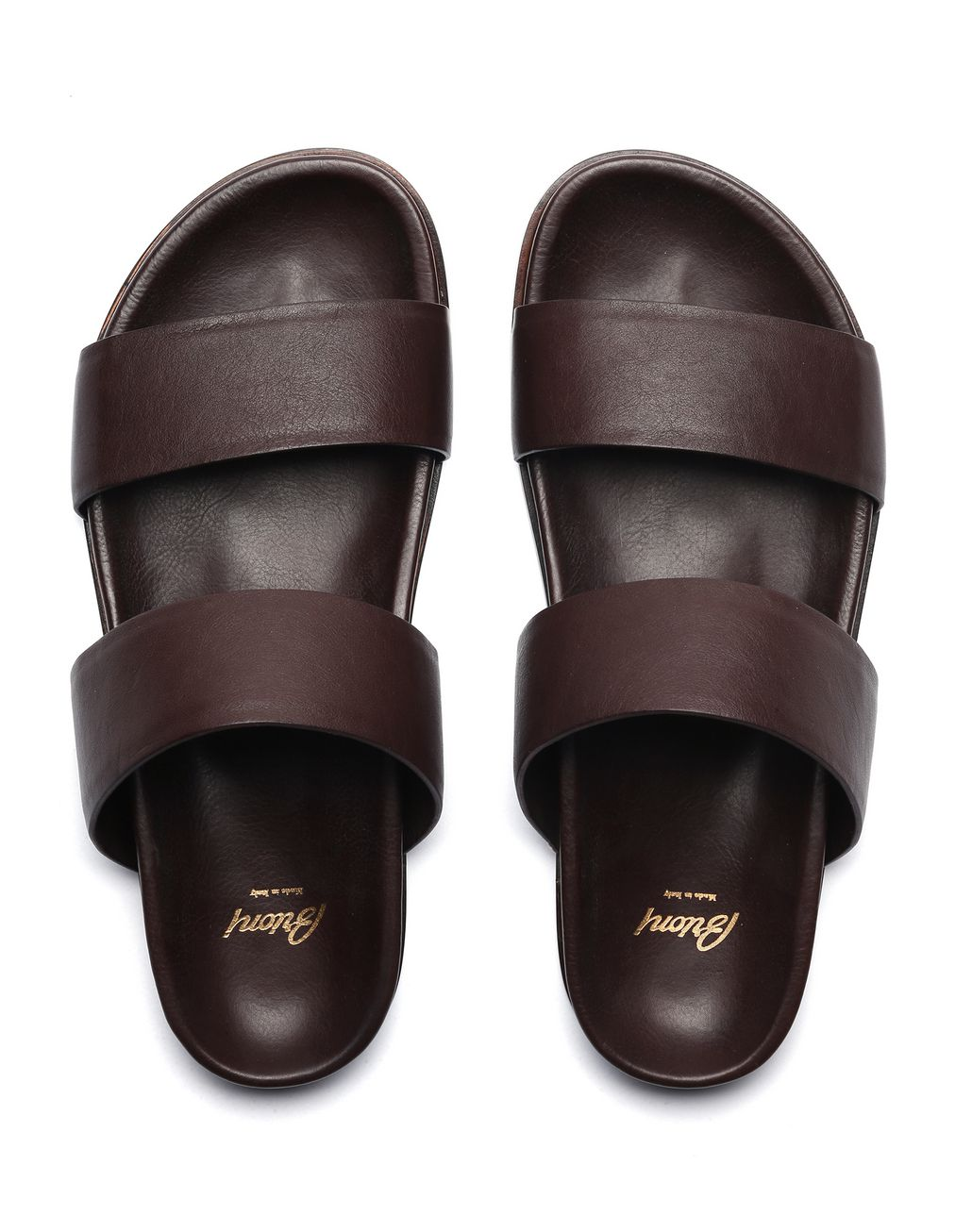 BRIONI Brown Slider Shoes Sandals Man r