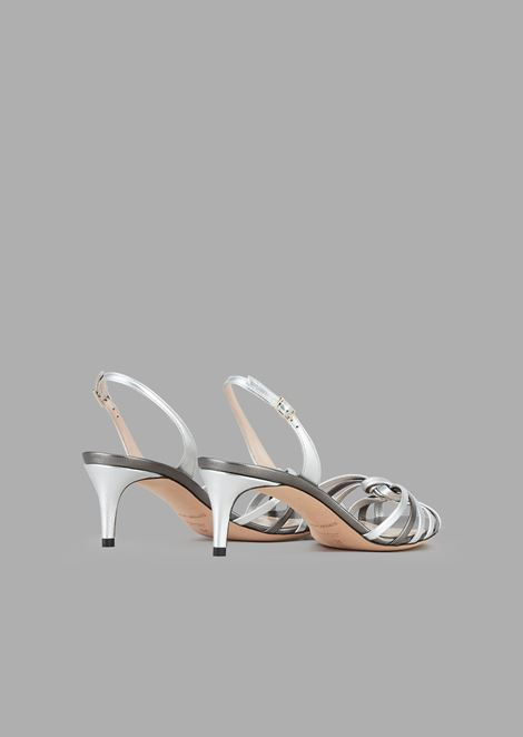 High-heeled sandals in metallic nappa leather