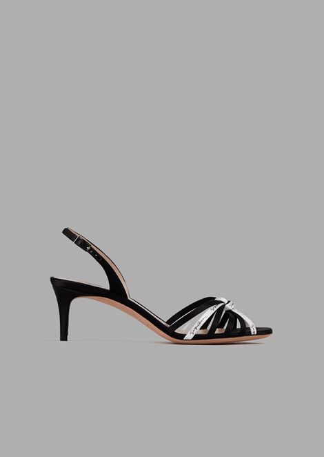 Satin sandals with contrasting fine straps and signature