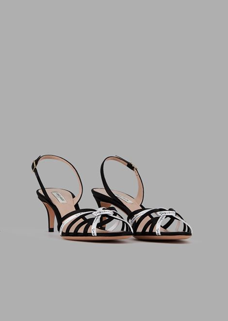Satin sandals with contrasting thin straps and signature